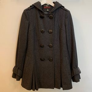 Double Breasted Wool Blend Coat -Small